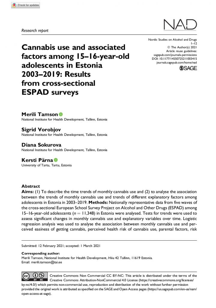 Cannabis use and associated factors among 15–16-year-old adolescents in Estonia2003–2019_Results from cross-sectional ESPAD surveys_0